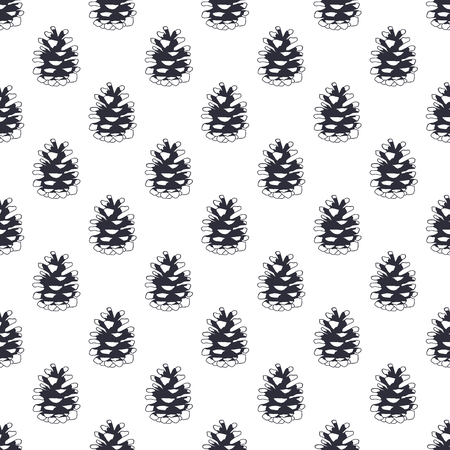 Vintage hand drawn pine cone pattern design. Pinecone seamless wallpaper. Monochrome retro design. illustration. Use for fabric printing, web projects, t-shirts. Фото со стока