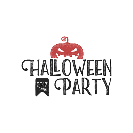 Halloween 2017 party label template with pumpkin and typography elements. Vector text with retro grunge effect. Illustration