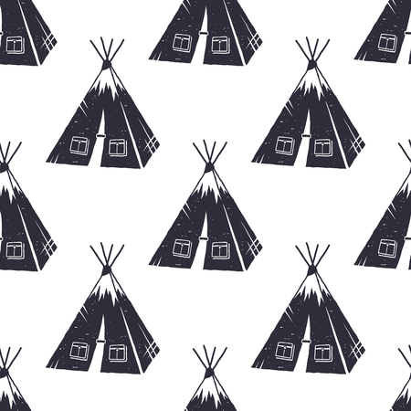 Vintage hand drawn hiking adventure pattern design. Camping seamless wallpaper with tent Monochrome retro design. illustration. Use for fabric printing, web projects, t-shirts. Stock Photo