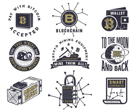 Blockchain, bitcoin, crypto valuta emblemen en concepten set. Stockfoto - 88392098