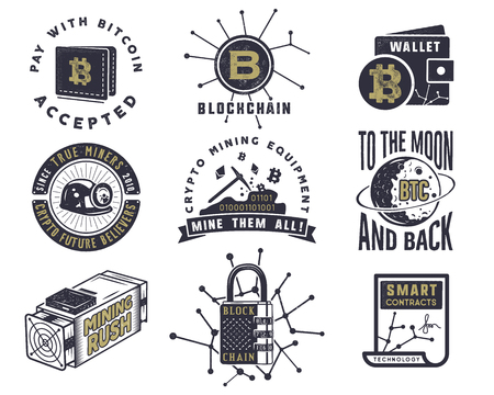 Blockchain, bitcoin, crypto currencies emblems and concepts set. Illustration