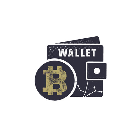 Bitcoin wallet emblem design illustration.