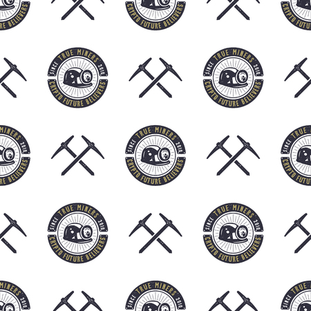Crypto concept pattern, pickaxe and bitcoin wallpaper, crypto concept design illustration. Illustration
