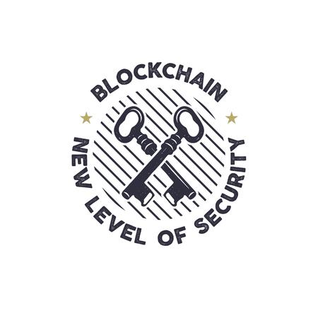 Blockchain - new level of security emblem concept with keys symbol design illustration.