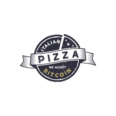Italian Pizza for Bitcoin emblem design illustration. Illustration