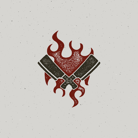 Hand drawn meat cleaver and knife symbols. Vintage steak house symbol. Letterpress effect with fire flame. Good for t shirt prints. design isolated on white background