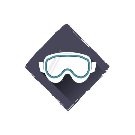 snowboard glasses logo design, symbol. Stock illustration with shadow. Isolated on white background