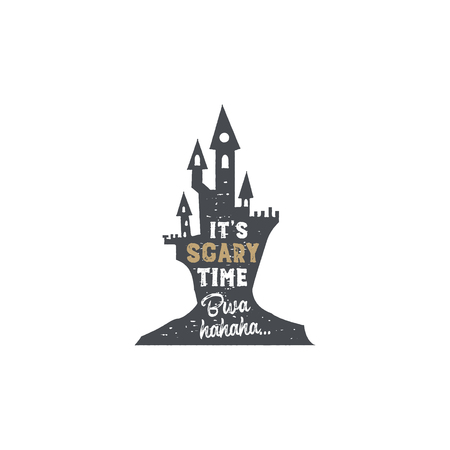 Halloween badge. Vintage hand drawn logo design. Monochrome style. Typography elements and Halloween symbol - horror castle. Stock isolated on white background