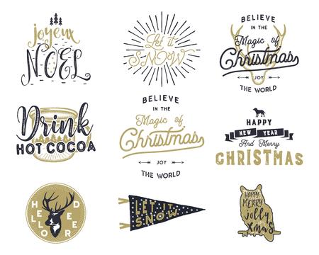 Big Merry Christmas typografie citaten, wensen bundel. Sunbursts, lint en xmas noel elementen, pictogrammen. Nieuwjaar belettering, gezegden, vintage etiketten, seizoensgebonden groeten kalligrafie. Voorraad vector isoleren