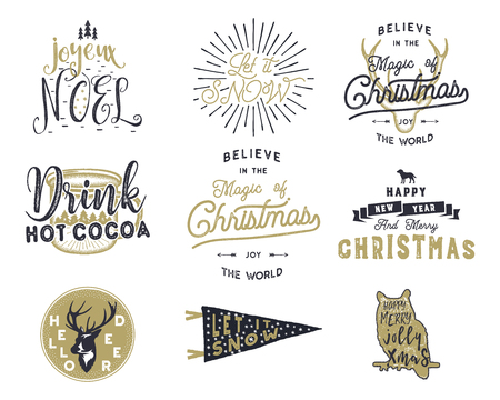 Big Merry Christmas typography quotes, wishes bundle. Sunbursts, ribbon and xmas noel elements, icons. New Year lettering, sayings, vintage labels, Seasonal greetings calligraphy. Stock vector isolate Illustration