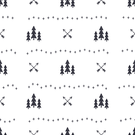 Hand drawn seamless pattern with Christmas tree, arrows design elements. Xmas wallpaper. Holiday vector background patter design isolated on white