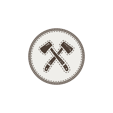 crossed axes icon. Monochrome camping design isolated on white background. Hiking vintage symbol. Retro hand drawn travel element Stock Photo