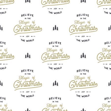 손으로 그려진 된 원활한 패턴 크리스마스 형식 디자인 요소 문자, 나무, 눈이 서예 크리스마스 마법에 믿습니다. 일러스트