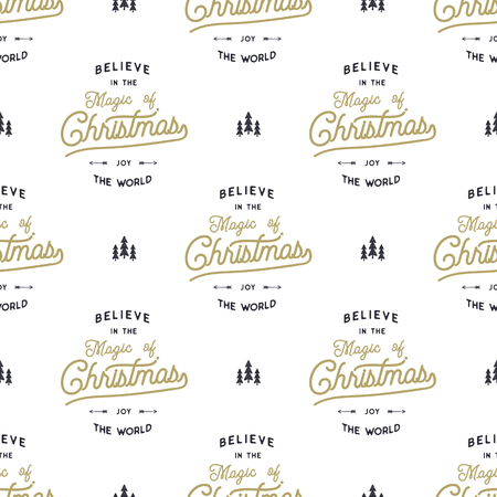 Hand drawn seamless pattern with christmas type design elements lettering, trees, snow calligraphy believe in xmas magic. 向量圖像