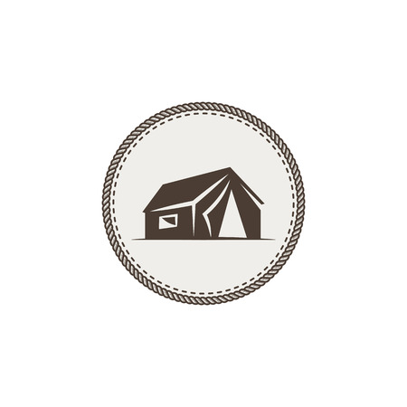 Tent icon isolated. Monochrome camping design isolated on white background. Hiking vintage symbol. Retro hand drawn travel element