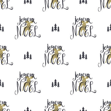 Hand drawn seamless pattern with Christmas type design elements; Lettering, trees, snow; Xmas calligraphy; Holiday wallpaper pattern design isolated on white background; Hipster style. Ilustrace