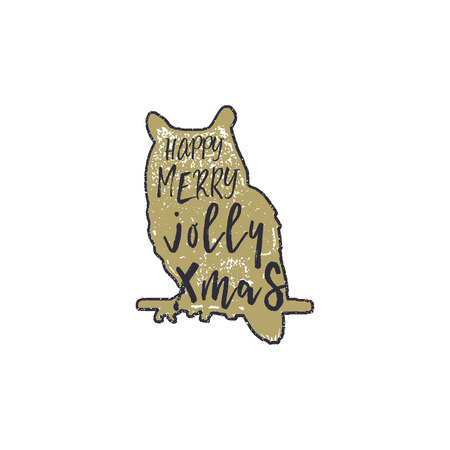 Vintage hand drawn owl with Christmas lettering inside. Silhouette xmas owl design. Jolly Xmas wishes. Typography and calligraphy style. Stock vector isolated on white background.