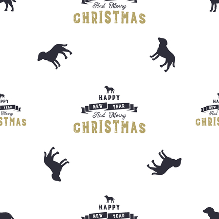 Year of the dog pattern; Symbol of 2018 seamless background; Dog icon and Merry Christmas typography elements; Retro wallpaper; Stock vector illustration isolated on white. Ilustrace