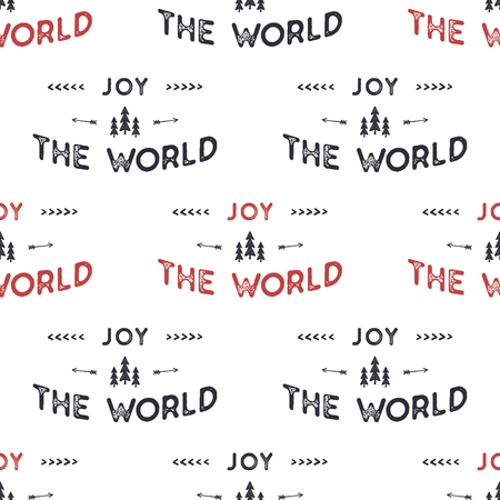 Joy the world lettering seamless pattern design. Holiday typography background for xmas cards, invitations, t shirts. Chritmas retro colors palette. Stock xmas vector isolated on white.