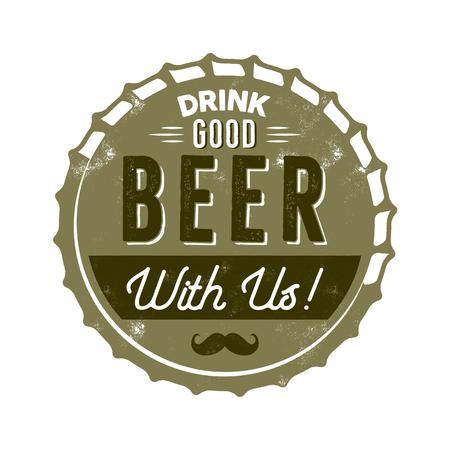 ヴィンテージスタイルのビールバッジ。インクスタンプデザイン。私たちと一緒に良いビールを飲みます。Tシャツ印刷用のレタープレス効果。分離 写真素材