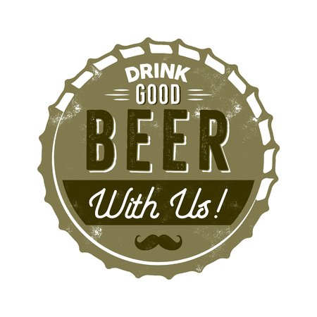 Vintage style beer badge. Ink stamp design. Drink good beer with us sign. Letterpress effect for t shirt printing. isolated