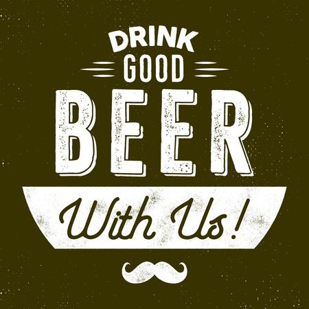 ヴィンテージスタイルのビールバッジ。インクスタンプデザイン。私たちと一緒に良いビールを飲みます。ムーバーシンボル - 口ひげが含まれてい 写真素材
