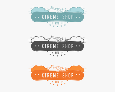 Set of Snowboarding extreme shop logo, label templates Winter snowboard sport store badge. Emblem and icon. Mountain adventure patches. Sports vintage color design.