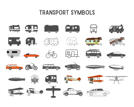 Transport shapes and elements for creation your own outdoor labels, wilderness retro patches, adventure vintage badges, hiking stamps. Rv trailers, planes, biplanes, airships Stok Fotoğraf - 92554058