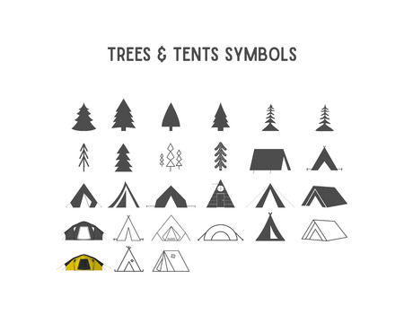 Trees and tent shapes elements for creation your own outdoor labels, hipster retro patches, adventure vintage badges, travel logotypes. Silhouette, line art design Stock Photo