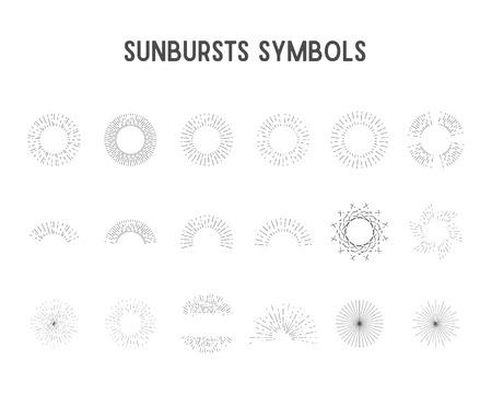 Set of vintage sunbursts, star lights. sillhouette, lineart design.