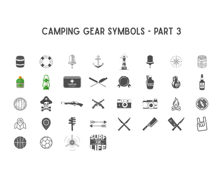 Set of silhouette icons and shapes with different outdoor gear, camping symbols for creating adventure logo, badge designs, use in infographics, posters as so on. Isolated white.Part 3 Stock Photo