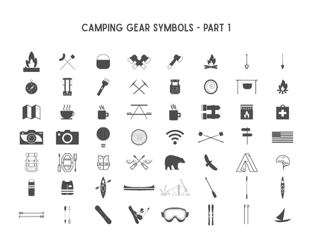 Set of silhouette icons and shapes with different outdoor gear, camping symbols for creating adventure logotypes, badge designs, use in infographics, posters. Isolated on white. Part 1 Stock Photo