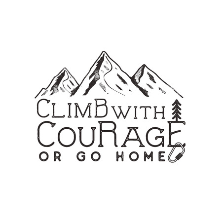 Climbing vintage label design. Hand drawn badge with mountain, climb gear and typography elements. Outdoors adventure t shirt, logotype. illustration.