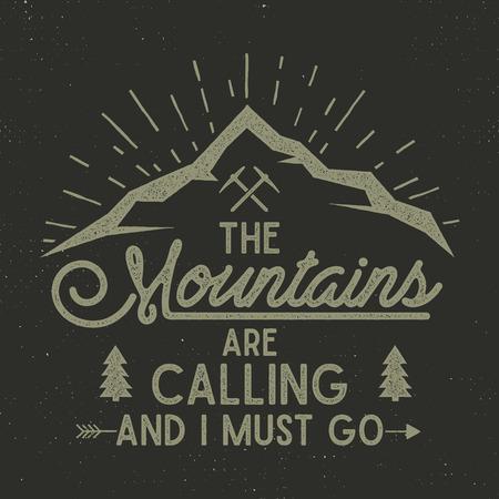 산은 포스터를 부릅니다. 산 탐색기 빈티지 손으로 그려진 된 레이블입니다. 활자 효과입니다. 힙 스터 탐색기 티셔츠 디자인. 탐색기 인쇄의 그림입니다. 어두운 배경에 절연 스톡 콘텐츠 - 92554070