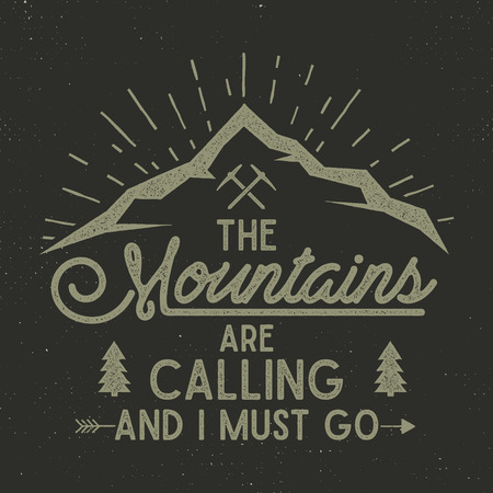 Mountains are calling poster. mountains explorer vintage hand drawn label. Letterpress effect. Hipster explorer t-shirt design. Illustration of explorer print. Isolated on dark background Banco de Imagens