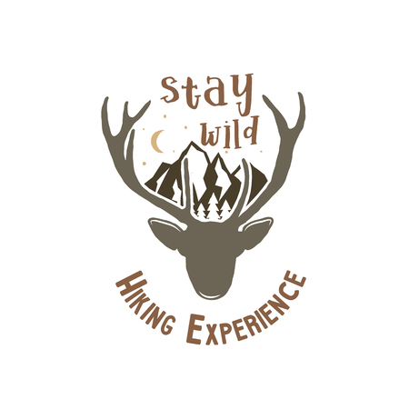 Hand drawn vintage camping badge and hiking label with wild animals design elements. Included deer head, mountains and quote text- stay wild . Old style patch. Rustic stamp stock template.