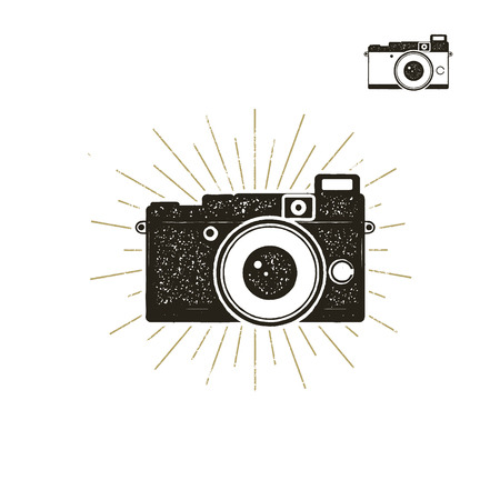 Hand drawn vintage camera label with sunbursts. Old style camera icon isolated on white background. Good for tee shirt, clothing prints, mugs, travel pennant designs. Stock  Stock Photo