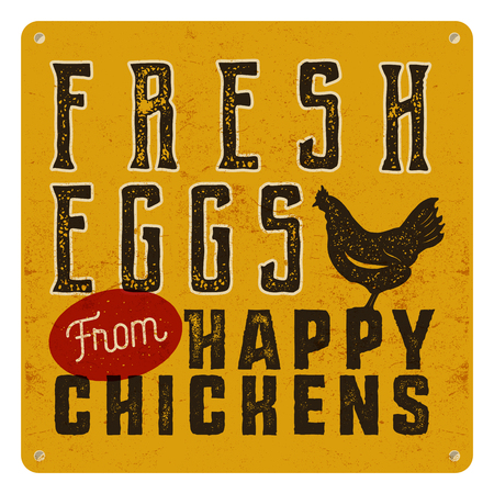 Farm fresh eggs poster on yellow vintage rusty metal background with chicken. Retro typography style.