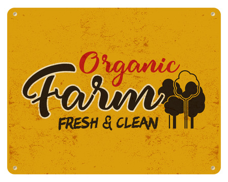 Organic farm, eco food poster. Fresh and clean. Local product logo designs. Typographic insignia in retro style. patch.