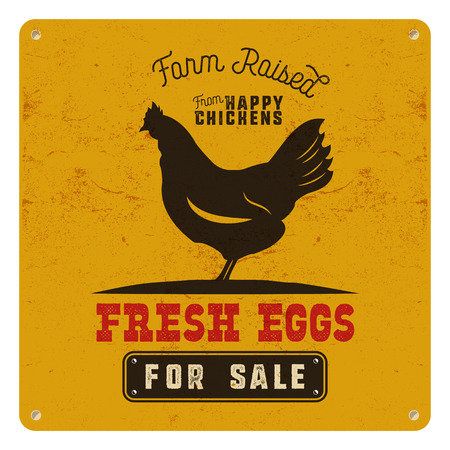 Farm fresh eggs poster, card on yellow vintage rusty metal background with chicken. Retro typography style. Vintage design.