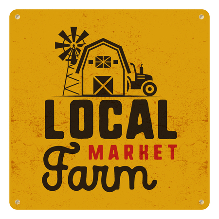Local farm market poster. Retro design. Included farmer symbols and elements - tractor, windmill, barn. illustration.
