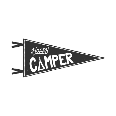 Happy camper pennant template. Typography design and outdoor activity symbol - tent. Monochrome. isolated on white background. retro patch.