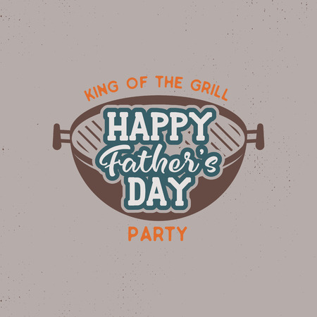 Happy Fathers day party label. Vintage design. Holiday grill and bbq party emblem isolated on scratched background. Stock illustration.