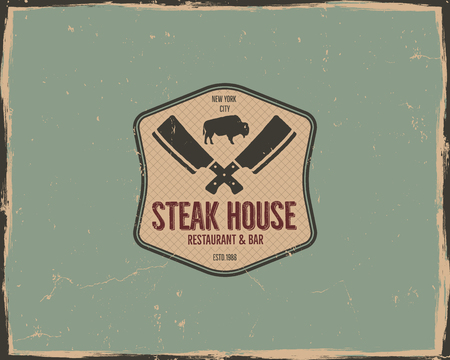 Steak house poster or logo design. Bar and grill logotype, emblem. Food label in retro colors style. Stock badge. Isolated on scratched background.