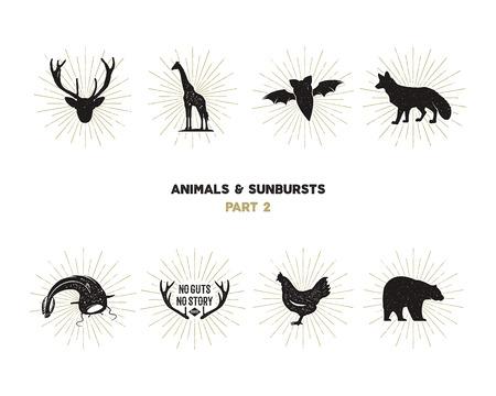 Set van wilde dieren figuren en vormen met zonnestralen geïsoleerd op een witte achtergrond. Zwarte silhouetten giraf, kip, vossen, herten, meerval en vleermuis. Gebruik als pictogrammen of in logo-ontwerpen. pictogrammen.