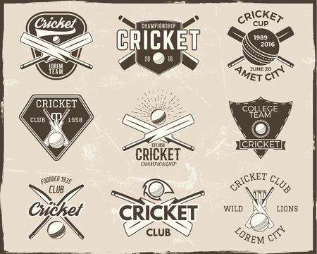 Ensemble de conceptions de logo de modèle de sport de cricket rétro. Utilisez-les comme des icônes, des badges, des étiquettes, des emblèmes ou des imprimés. championnat d'illustration sportive. Isolé sur fond rayé. Banque d'images - 92554320