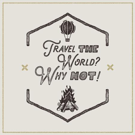 Zwerflust retro poster. Sign - Travel the World Waarom niet Vintage typografie-etiket in retro ruwe stijl. Perfect voor t-shirts, kampeermokken en andere merkidentiteiten. Voorraad Stockfoto