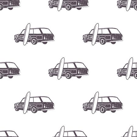 Projeto surfando do teste padrão do carro do estilo antigo. Verão sem costura papel de parede com surfista van, pranchas de surf. Carro combi monocromático. ilustração. Use para impressão em tecido, projetos web, camisetas ou camisetas Foto de archivo - 92554294