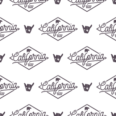 California Surfing monochrome seamless pattern with shaka sign and typography elements. Wilderness wallpaper design. White isolated background. For web design, t shirts, wrapping paper. Stock . Archivio Fotografico
