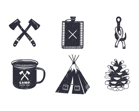 Vintage hand drawn adventure hiking, camping shapes. Retro monochrome design. can be used for t shirts, prints, logotype, badges, icons and other identity. Stock illustration.